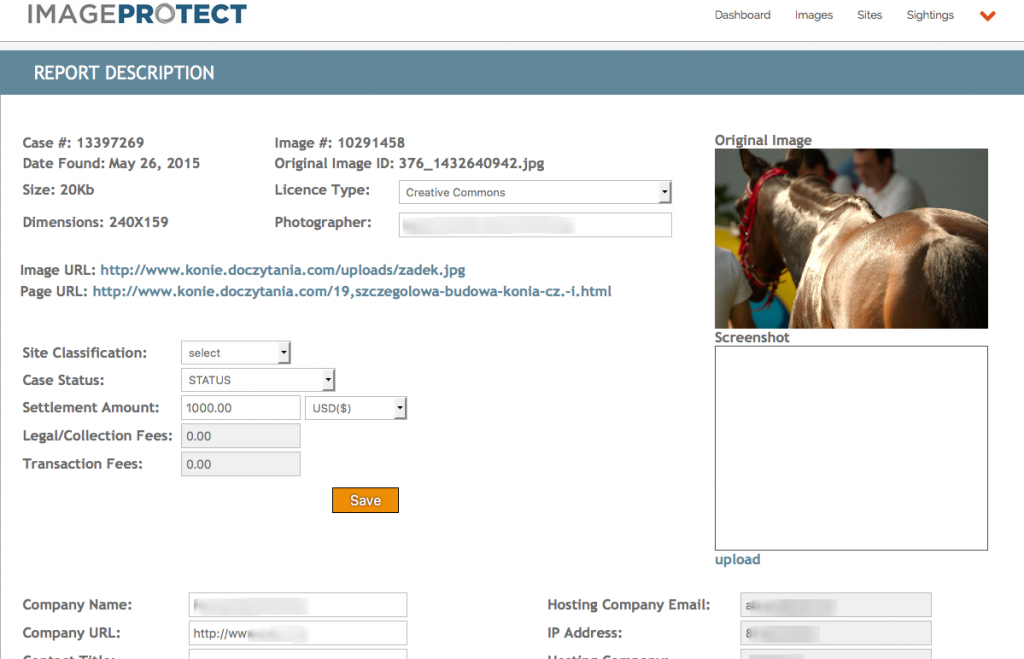 ImageProtect report form