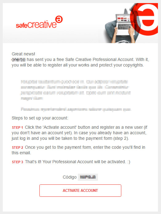 Sample mail gift account Safe Creative